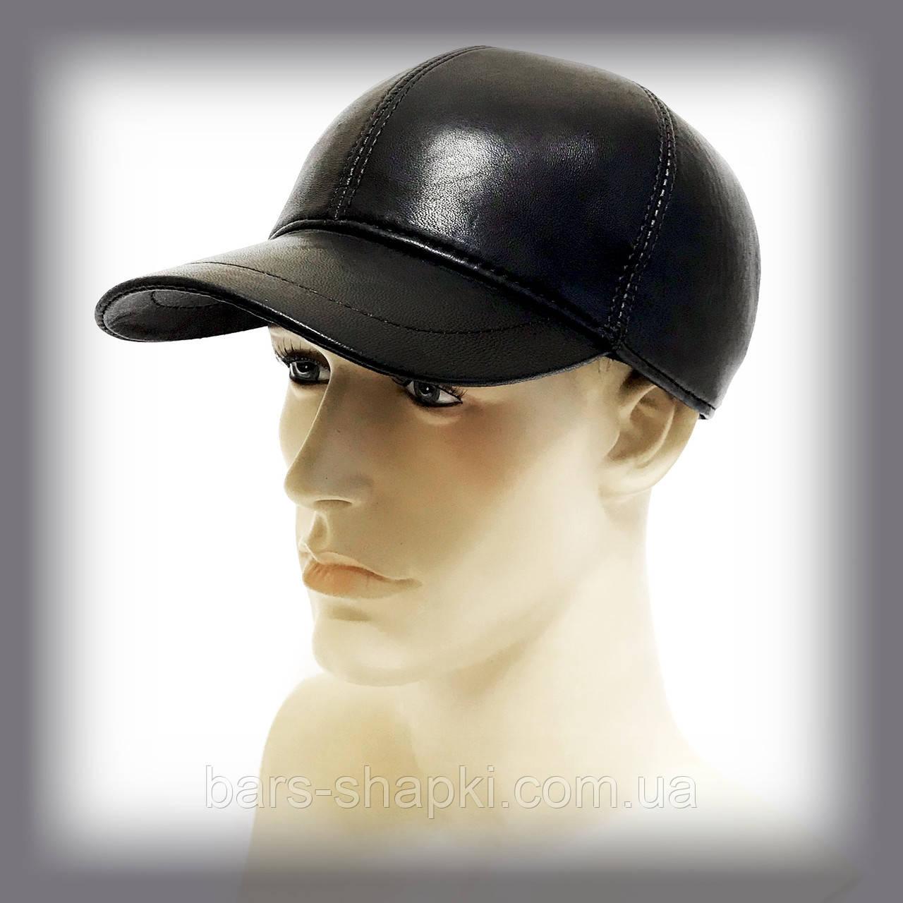 Мужская бейсболка из кожи на овчине (чёрная)