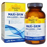Коллаген + Витамины С&А  Country Life Maxi-Skin Collagen + C & A (90 таблеток)