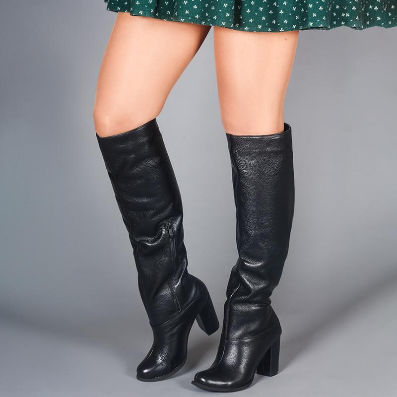 Женские черные сапоги высокие на каблуке. Индивидуальный пошив. Цвет и утеплитель на выбор