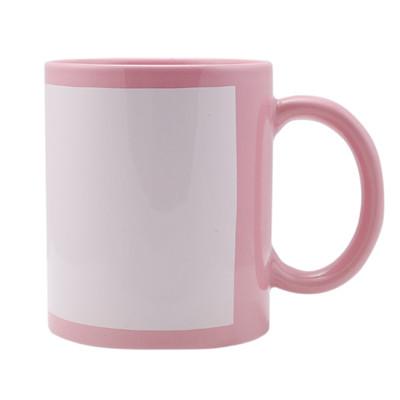 Чашка для сублимации цветная с полем 330 мл (Розовый)