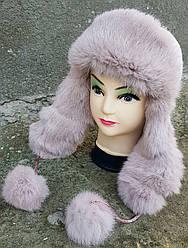 Зимняя женская шапка-ушанка Klaus Кролик на плащевке 55-58  Пудра(017/7)