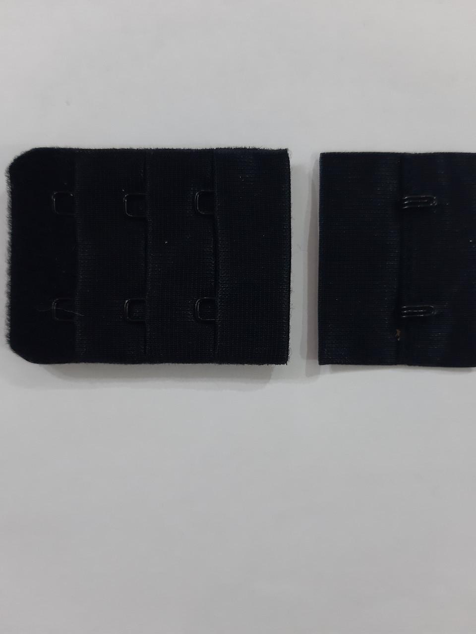 Застежка для бюстгальтера на 2 крючка 3 ряда петель 38мм цв черный