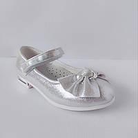 Нарядные серебряные туфли на каблучке девочкам, р. 28, 29, 30 Праздничные, комфортные