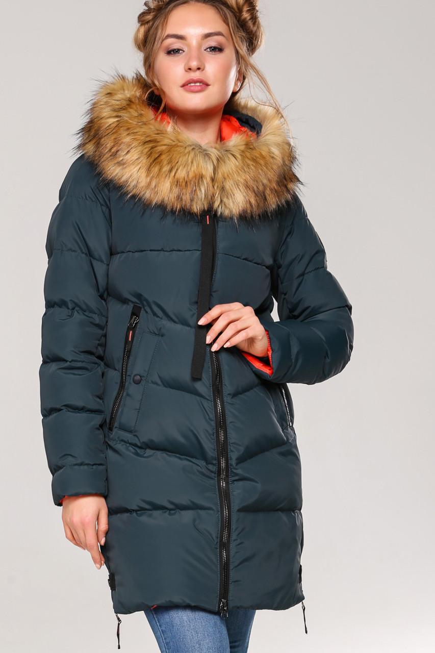 Женская зимняя стильная куртка Фабьен, эко-мех енот  44р
