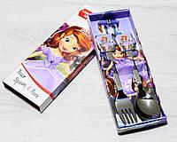 Детские столовые приборы Принцесса София 2 предмета ложка и вилка, фото 1
