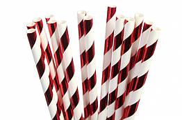Паперові трубочки для напоїв спіраль червоні 25 штук