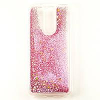 Чехол Glitter для Xiaomi Redmi 8A Бампер Жидкий блеск Звезды Розовый