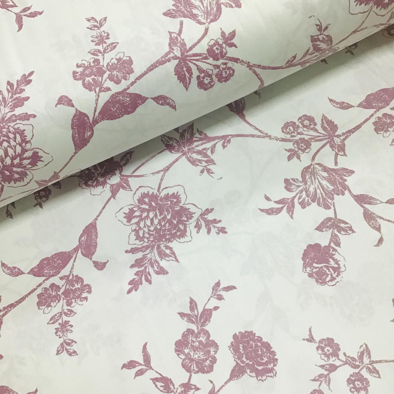 Ткань поплин крупные сиреневые цветы на белом (ТУРЦИЯ шир. 2,4 м) №32-208 ОТРЕЗ(0,6*2,4)