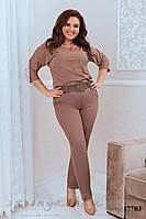 Стильный костюм брюками для полных беж, фото 1