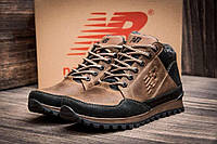 Мужские  зимние кожаные кроссовки  New Balance Clasic Brown (реплика)