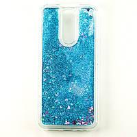 Чехол Glitter для Xiaomi Redmi 8 Бампер Жидкий блеск Синий