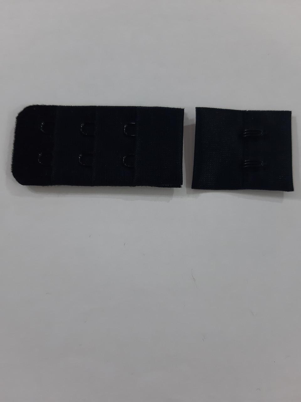 Застібка для бюстгальтера на 2 гачка 3 ряди петель 25мм кол чорний