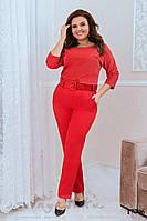 Стильный костюм брюками для полных красный, фото 1