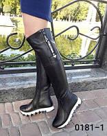Сапоги ботфорты, женские, зимние из натуральной черной кожи на не скользкой подошве, боковая змеечка  рабочая