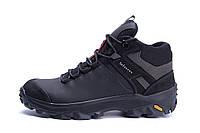 Мужские зимние кожаные ботинки  Е-series biom Black (реплика)