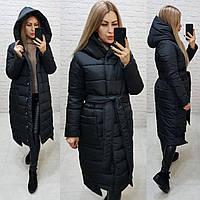 Теплое зимнее пальто,черное, ткань плащевка, арт.М 032