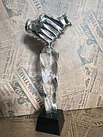 Статуэтка хрустальная Рукопожатие на подставке, подарок бизнес-партнеру корпоративные подарки