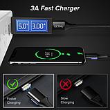 GETIHU Магнитный кабель MICRO USB длинна 2 метра индикатор зарядки сбоку быстрая зарядка 3А Цвет чёрный, фото 3