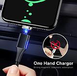 GETIHU Магнитный кабель MICRO USB длинна 2 метра индикатор зарядки сбоку быстрая зарядка 3А Цвет чёрный, фото 4