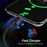 GETIHU Магнитный кабель MICRO USB длинна 2 метра индикатор зарядки сбоку быстрая зарядка 3А Цвет чёрный, фото 5