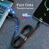 GETIHU Магнитный кабель MICRO USB длинна 2 метра индикатор зарядки сбоку быстрая зарядка 3А Цвет чёрный, фото 7