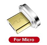 GETIHU Магнитный кабель MICRO USB длинна 2 метра индикатор зарядки сбоку быстрая зарядка 3А Цвет чёрный, фото 2