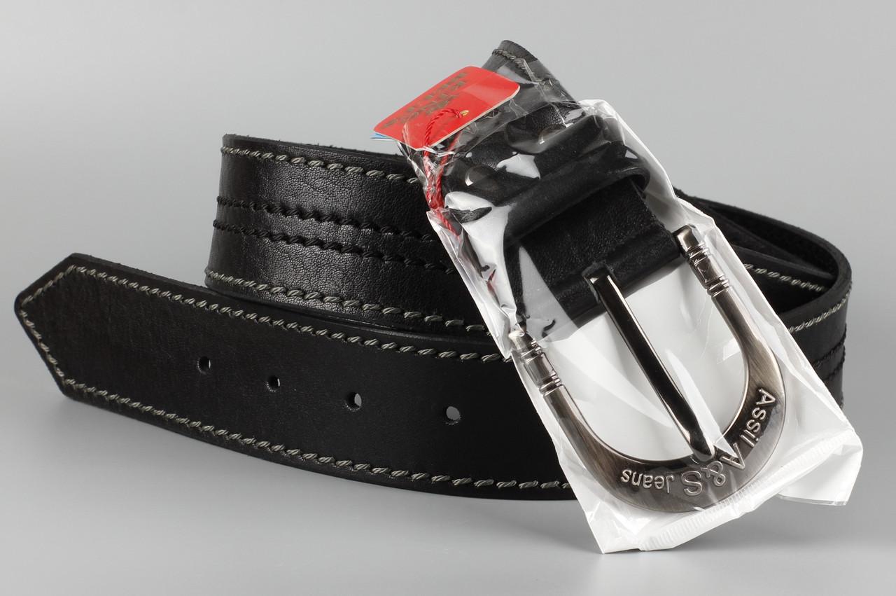 Ремень кожаный джинсовый King Belts 45 мм с декоративной строчкой