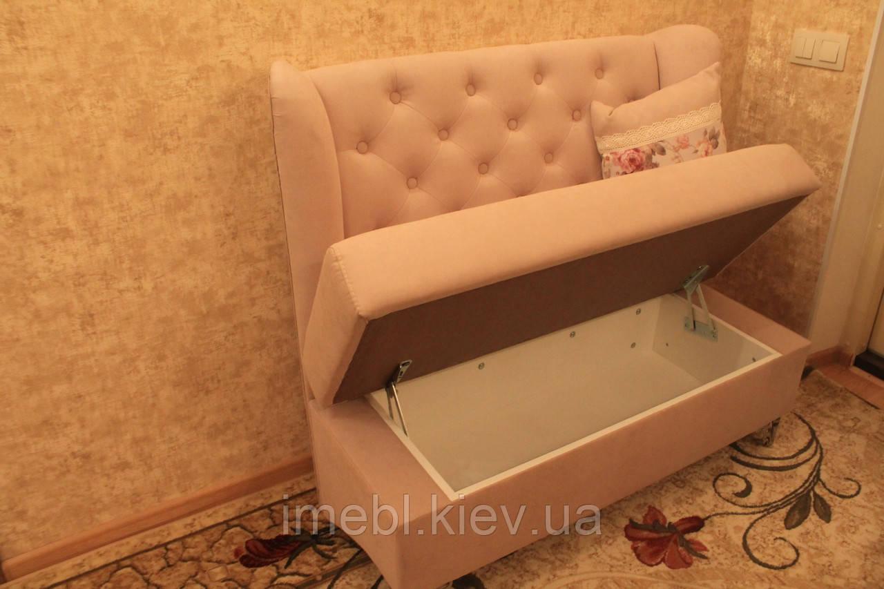 Маленький диванчик с ящиком для прихожей (Розовый)