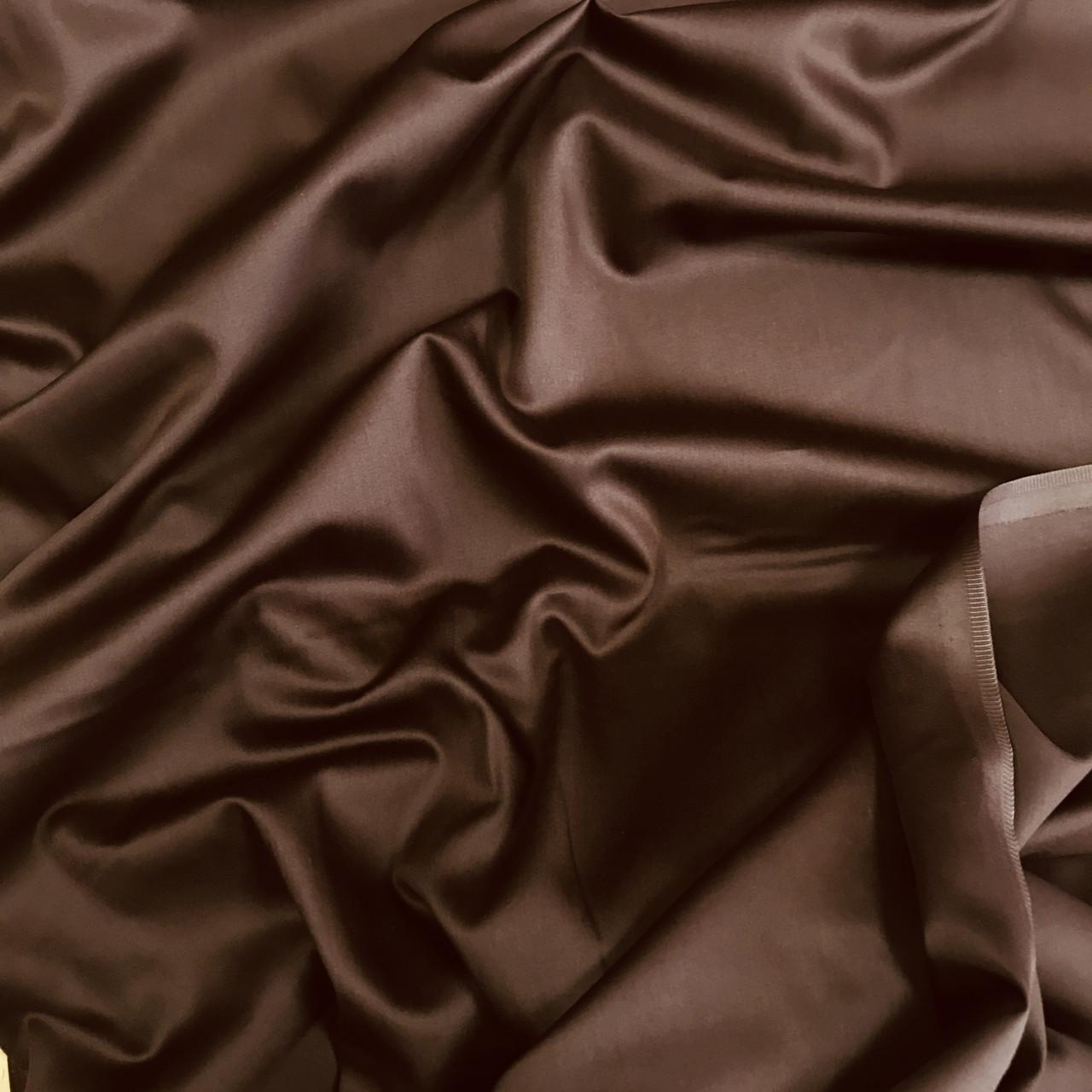Сатин шоколадный для постельного белья, мерсеризованный  (ТУРЦИЯ шир. 2,4 м) №31-34s ОТРЕЗ(0,6*2,4)