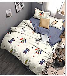 Комплект постельного белья полуторный из сатина Милые собачки 147х217 см