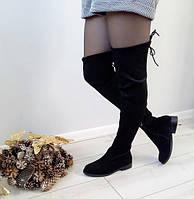 Ботфорти жіночі чорні демісезонні екозамша на низькому каблуку