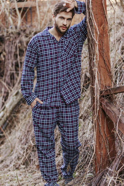 Комплект мужской, пижама в клетку Key MNS 046 синяя, XXL