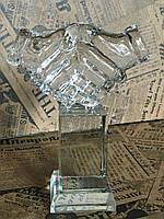 Статуэтка стеклянная Рукопожатие, подарок бизнес партнеру, корпоративные подарки
