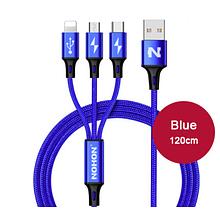 Кабель NOHON 3 в 1 type-C / 8 Pin / Micro USB для Android iPhone Samsung Xiaomi Колір Синій