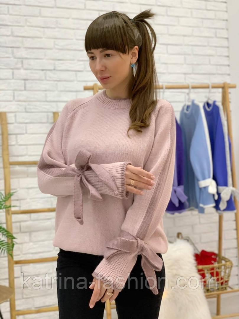 Женский свитер с завязками на рукавах (в расцветках)