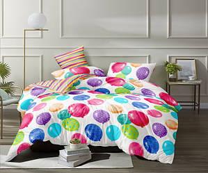 Полуторный комплект постельного белья «Веселые шарики» с простыней на резинке 90х200 из сатина