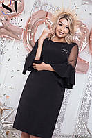 Вечірній пряме плаття з костюмки Анжеліка, евросетка, рюшів гіпюр, декорований стразами (50-54), фото 1