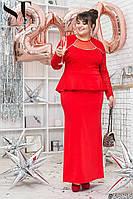Вечірнє плаття з французького трикотажу + гіпюр + евросетка на грудях, довгий рукав (54-58), фото 1
