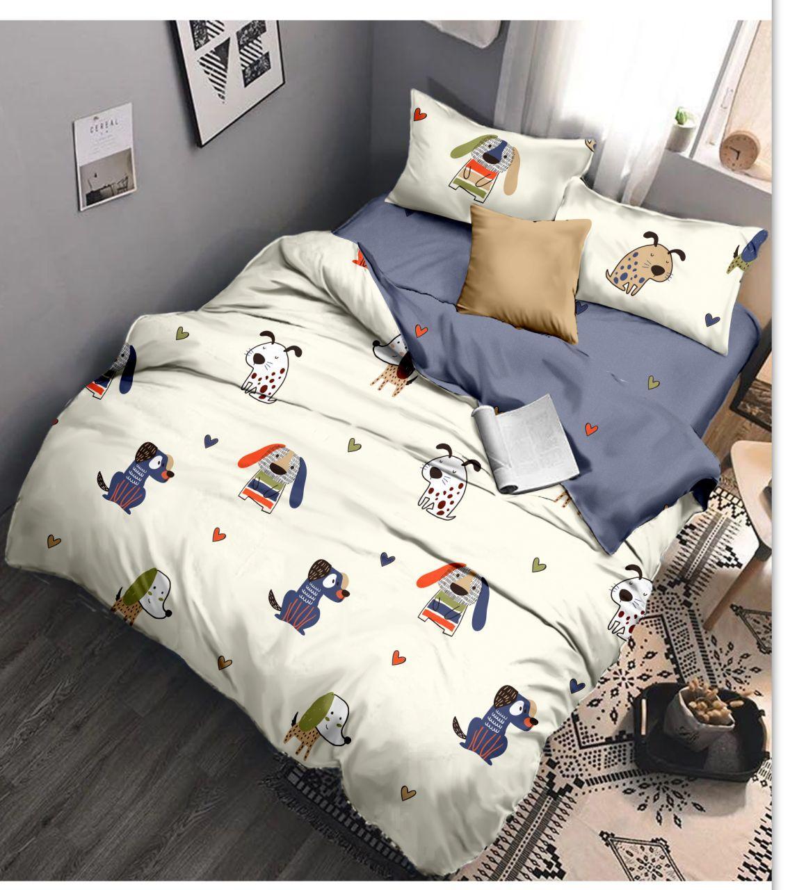 Полуторный комплект постельного белья «Милые собачки» с простыней на резинке 90х200 из сатина