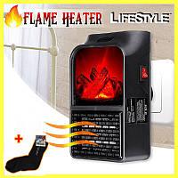 Электрический камин обогреватель с пультом Flame Heater 900W + ПОДАРОК!!! Зимние термоноски 41-45 размер