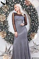 Нарядное вечернее платье в пол из трикотажа с люрексом + евросетка верх платья и рукава (42-46), фото 1