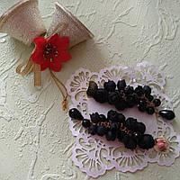 Чёрные серьги гроздья с пионами из полимерной глины, фото 1