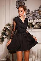 Платье вечернее короткое юбка клеш черное