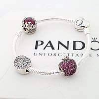 Браслет Пандора с застежкой  сердце p-lock  PANDORA стиль