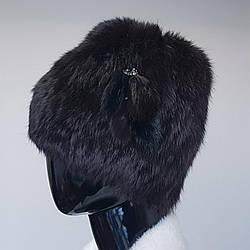Шапка женская меховая темно-коричневого цвета