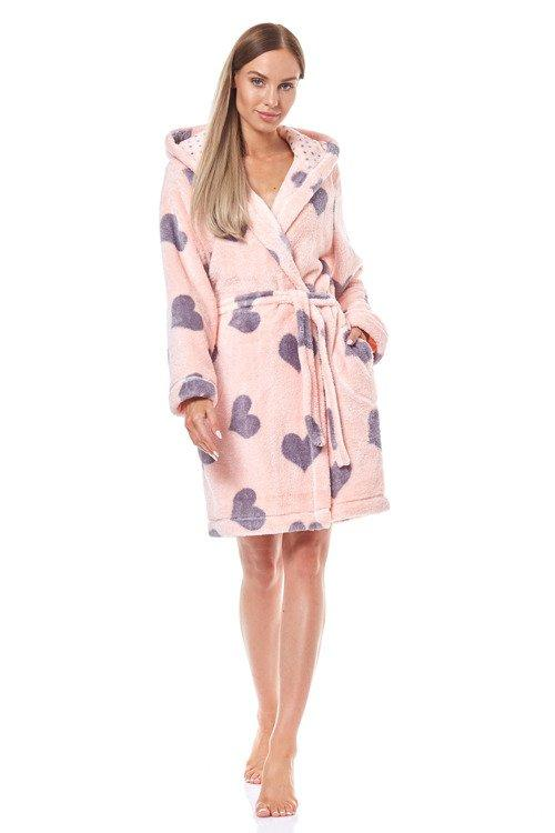 Жіночий короткий халат з сердечками L&L Kola