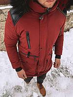 Зимняя мужская куртка красного цвета с мехом и кожаными вставками