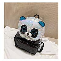 Рюкзак детский, с паетками, черный. Панда.