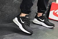 Мужские кроссовки в стиле Nike Air Max 270 React, кожа, сетка, пена, воздушная подушка, черные с белым 43 (27,8 см)