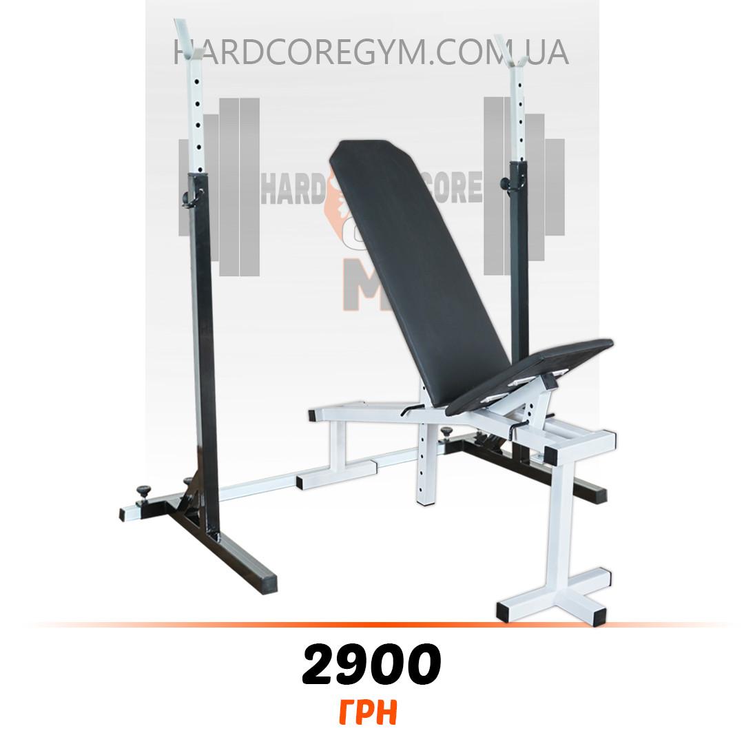 Лавка з від'ємним кутом (до 250 кг) + Стійки (до 200 кг)